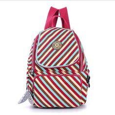 Waterproof Nylon Shoulder Bag Travel Backpack Handbags - Stripes