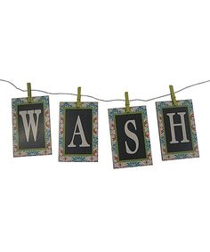 Look at this 'Wash' Clothesline Sign Set on #zulily today!
