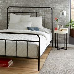 Imogene Metal Bed - Gunmetal | West Elm --I always find myself drawn to this style of frame. Would consider it if/when replacing what I currently have.--