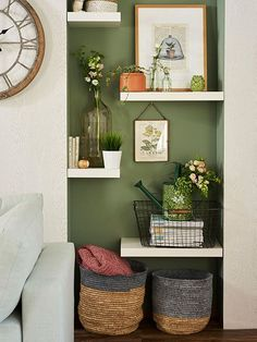 May 2020 - Alcove Floating Shelving Display Prints Vases Alcove Decor, Alcove Ideas Living Room, Bedroom Alcove, Living Room Nook, Living Room Shelves, Living Room Green, New Living Room, Living Room Modern, My New Room