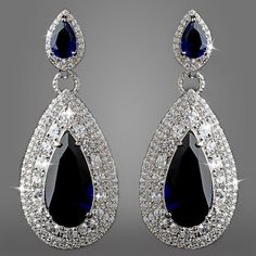 CZ Drop Bridal earrings Rhodium Sapphire by LucysBridalCloset