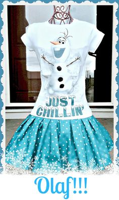 girls frozen Olaf Disney fabric graphic tee knit twirl party Dress layers of ruffle size 4/5 6/6X 7/8 ready to ship on Etsy, $36.00
