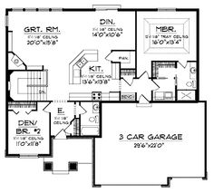 Home Plans HOMEPW01742 - 1,580 Square Feet, 2 Bedroom 2 Bathroom Ranch Home with 3 Garage Bays