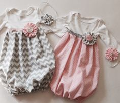 Welcome babys home in one of our sweet baby gowns-- a great shower gift or take home outfit. Choose our Pink and white polka dots baby gown OR chevron grey baby gown -- OR BOTH. Available to be purchased as a set or individual--. A sure hit at any baby shower, or for your little sweet love. Available in long or short sleeves, with elastic ribbon for comfort and movement. Complete with our Signature..  YOU WILL RECEIVE: 1- Gown 1- headband OPTION to order BOTH   Any fabric choice welcome! We…