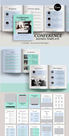 Running a conference or workshop? 15-page Conference Agenda Canva Template will help you to design a great presentation/guide for any corporate event such as a conference, business seminar, special workshop or webinar. #graphicdesign #conference #agenda #canvatemplate #presentation #pitchdeck #onlineworkshop #onlinecourse #masterclasstemplate
