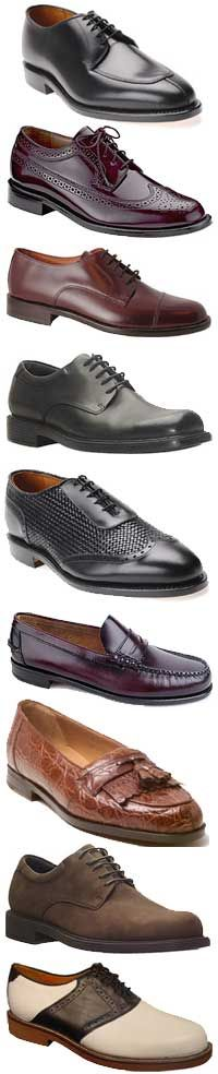 shoes from 1930 Men's shoes 1930s: dress (top) to casual (bottom)