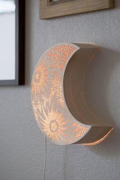 Crescent Moon Night Light  Wooden Accent Lamp  Luna Lantern
