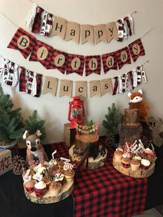 Lumberjack themed First Birthday Party #buffaloplaid #lumberjack #banner #rustic #firstbirthday #woodlandanimals
