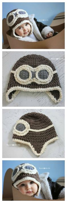 Crochet Beanie Design Aviator Hat FREE Crochet Pattern More - Winter is here, would you want to crotchet a cute hat for any little one you love? This crochet aviator hat is so adorable, it is great for any age. Crochet Baby Hats, Crochet Beanie, Crochet Gifts, Crochet For Kids, Diy Crochet, Crochet Clothes, Baby Knitting, Crochet Winter, Crochet Ideas