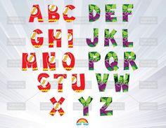 Superhero alphabet - alphabet clipart - flash man alphabet - hulk alphabet