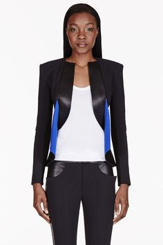 DION LEE Black Leather & Neoprene Panelled Blazer