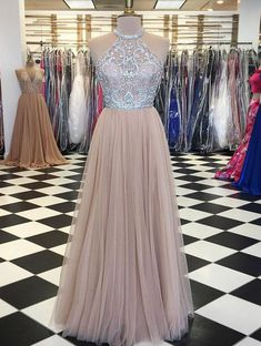 Customized Light Champagne Prom Dresses, Long Prom Dresses Custom Made Light Long Prom Dresses, Champagne Tulle Beads Long Prom Dress, Champagne Evening Dress Halter Top Prom Dresses, Prom Dresses For Teens, Unique Prom Dresses, Tulle Prom Dress, Lace Evening Dresses, Homecoming Dresses, Wedding Dress, Formal Dresses, Tulle Lace
