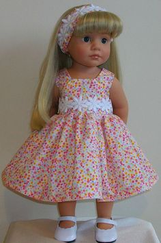 "Vintagebaby daisy dress & alice band for 18"" dolls Designafriend/Gotz hannah"