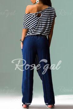 Casual Style Skew Neck Short Sleeve Striped T-Shirt + Drawstring Pants Women's Twinset