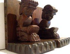 Mid Century Tiki Hawaiian Vintage Wooden Statue Bookends...