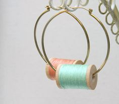 Green Mint Peach Pastel Large Hoops Wooden Spool Earrings with Thread. $10.00, via Etsy.