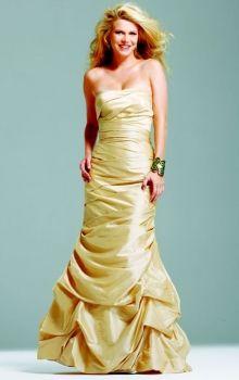 Gold Mermaid/Trumpet Strapless Natural Long/Floor-length Sleeveless Pick-Ups Taffeta Prom Dresses Dress