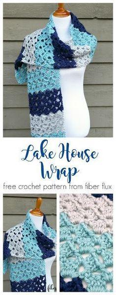 Lake House Wrap, free crochet pattern + full video tutorial from Fiber Flux