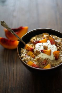 Maple Walnut Steel Cut Oatmeal with Yogurt, Peaches and Chia Seeds | http://www.theroastedroot.net