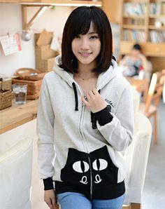 Áo khoác nữ họa tiết mèo Smile cats cực xinh cho các bạn gái teen.