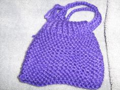 Mini Wristlet Knitted Bag in Purple by craftheart on Etsy, $2.50