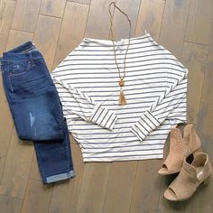 Off the shoulder! Ready for warm weather! Peep toe style booties!  #crossnecklace #offtheshoulder #cuffeddenim #darkdenim #peeptoes #sidecut