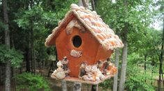 Wooden Birdhouse Seashells for Patio or Porch by SharingSeaShells, $29.99