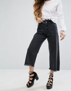 Noisy May Wide Leg Crop Jean with Raw Edge