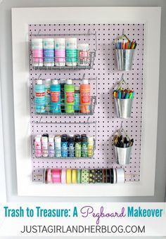 Ugly eyesore turned beautiful organization tool-- what a beautiful pegboard makeover! | JustAGirlAndHerBlog.com