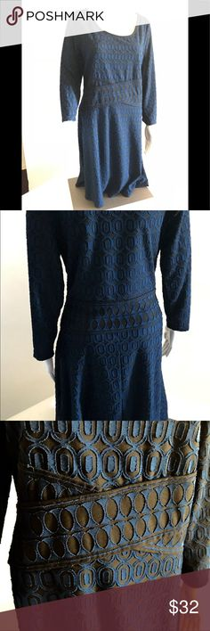 NWT Max Studio empire waist black blue LS dress  M New with tag midi dress with structured empire waist and long sleeves. Material is soft, 70% Rayon and 30% Polyester.  Measurements are taken with dress laying flat; Shoulder width 3in Sleeve length 20in Bust 36 in Length 38 in Hem width 64 in Max Studio Dresses Midi