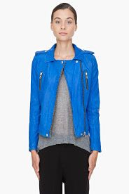 IRO Blue Leather Anabela Jacket  sumthin blue