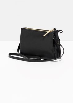 & Other Stories image 2 of Bow Tassel Leather Bag in Black