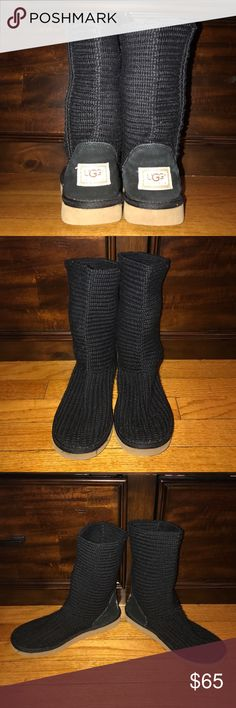 Black Knit UGGS Knit Black UGG Boots. Design before Buttons. Classic Height.   Worn a few times. Still a lot of love left!! UGG Shoes