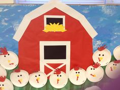 Barn and chickens – very cute for preschool Farm theme bulletin board table time Farm Animals Preschool, Preschool Boards, Farm Animal Crafts, Preschool Crafts, Preschool Classroom, Kindergarten, Preschool Farm Crafts, Physics Classroom, Daycare Crafts