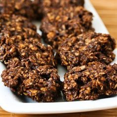 Two Recipes for Sugar-Free and Flourless Chocolate and Oatmeal Cluster Cookies.