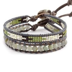 Chan Luu - Labradorite Mix Single Bracelet Set on Natural Grey Leather, $115.00 (http://www.chanluu.com/bracelets/labradorite-mix-single-bracelet-set-on-natural-grey-leather/)