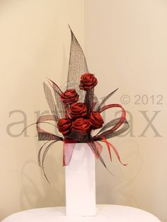Artiflax - corporate / wedding centrepiece, red and black flax flowers