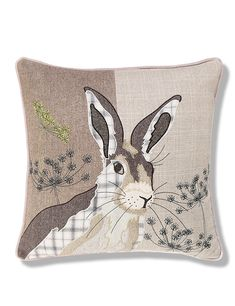 Love this fun Hare cushion. Hermione Hare Print Cushion from M&S Buy the Hermione Hare Print Cushion from Marks and Spencer's range. cushion cover yellow Press Visit link above for more options - Cushions – Update Your Sofa With New Cushions Awaken Your Applique Cushions, Wool Applique Patterns, Applique Quilts, Embroidery Applique, Machine Embroidery, Applique Ideas, Applique Designs Free, Cushions To Make, Printed Cushions