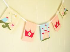 Princess fairy tale themed banner 5 flag van TaffieWishes op Etsy