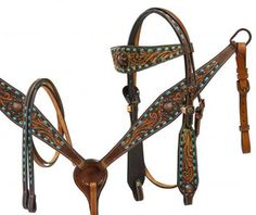 Showman Headstall, Breast Collar Reins Set With Teal Buck Stitch And Bronze Conchos