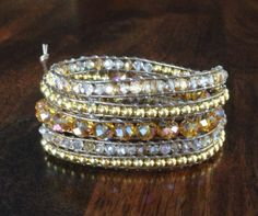 Champagne Bliss wrap bracelet gold champagne by BorlandDesigns, $40.00