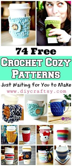 Beginning Crochet Free Crochet Cozy Patterns - We have 74 Free Crochet Cozy Patterns that are all borderline genius and are sure to satisfy all the tastes! Crochet cozy pattern for coffee, mug, cup, jar. Crochet Coffee Cozy, Crochet Cozy, Crochet Crafts, Free Crochet, Diy Crafts, Yarn Crafts, Dishcloth Crochet, Simple Crochet, Beginner Crochet Tutorial