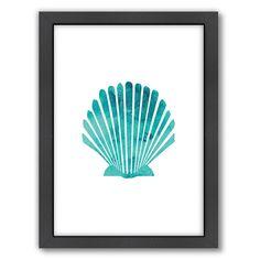 Americanflat Seashell Framed Wall Art, Turquoise/Blue (Turq/Aqua)
