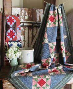 Fabulous-Farmhouse-Prim-ANTIQUE-1880s-Ohio-Star-QUILT-Indigo-Blue Vintageblessings