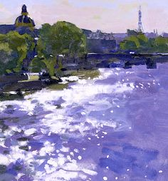 """ Ken Howard R.A. (British, born 1932) The Seine Paris - Evening Sparkle """