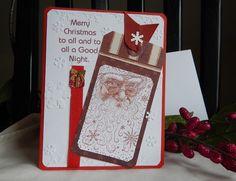 Handmade Christmas Card: complete card, handmade, balsampondsdesign, santa claus, red, tag, white, chaulk by balsampondsdesign on Etsy