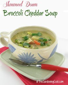 Perfect for a cold winter night.This Slimmed Down Broccoli Cheddar soup is so rich and tasty.  Gt the recipe http://recipesjust4u.com/slimmed-down-broccoli-cheddar-soup/