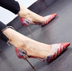 Womens Mixed Color Plaid Stilettos High Heel Pumps Shoes Pointed Toe Clubwear
