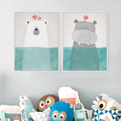 Modern Nordic Kawaii Oso Hipopótamo Animales Pájaro A4 Impresiones Del Arte de Dibujos Animados del cartel Fotos Lienzo de Pintura Sin Marco de Pared Habitación de Los Niños decoración
