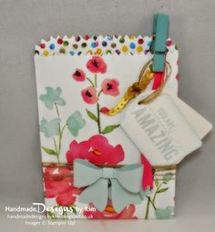 HANDMADE DESIGNS BY KIM handmade garden party bags using the new Mini Treat Bag Thinlits™ Dies, Bow Builder Punch, Note Tag Punch, Painted Petals Photopolymer Stamp Set and Painted Blooms Designer Series Paper made using Stampin' Up! products